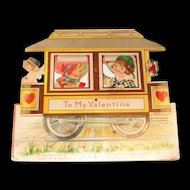 "Large Vintage ""To My Valentine"" Trolley Mechanical Valentine"