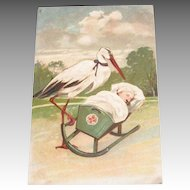 PFB: Stork Rocking Baby In Cradle Postcard