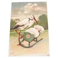 PFB: Stork Rocking Baby In Cradle Postcard