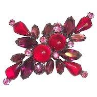 Red, Purple & Pink Glass Cabochon & Rhinestone Pin