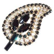 Black Marquis & Crystal Rhinestone Pin