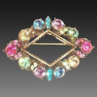 Weiss Multicolored Rhinestone Triangle Pin