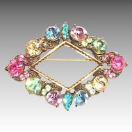 Weiss Multicolored Rhinestone Triangle Pin