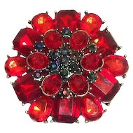 Vintage 3 Tier Rich Red Cabochons With Dark Green Rhinestones Pin/Brooch
