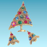 Weiss Borealis Rhinestone Christmas Tree Pin & Earrings