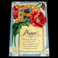 Poppy Consolation Postcard - 1912