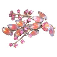 Lovely Opalescent Marquis & Pink Rhinestone Leaf Design Pin