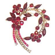 Ruby Red Rhinestone & Marquis Floral, Leaf & Stem Design Pin