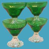 Anchor Hocking: Emerald Green With Clear Base Berwick/Boopie Glass Sherbert