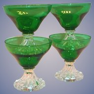 Anchor Hocking: Emerald Green With Clear Base Berwick/Boopie Glass Sherbert