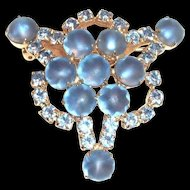 Lovely Frosted Round Cabochons & Blue Rhinestones Pin