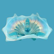 Northwood Blue Klondyke Opalescent Glass Footed Bowl/Dish