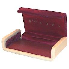 Vintage Dark Red Velvet Top Bulova Watch Display Box