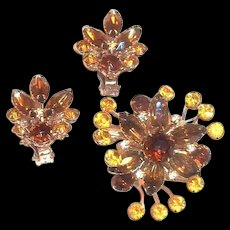 Amber & Brown Rhinestone & Marquis Floral Design Pin & Earrings Set