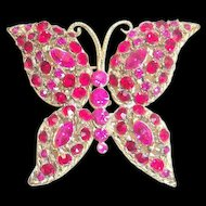 Vintage Ruby Red & Hot Pink Glass Rhinestone & Marquis Butterfly Pin