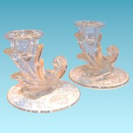 "Fostoria Pair of ""Navarre"" Floral Design Glass Candlesticks"
