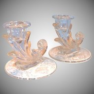 "Fostoria Pair of ""Navarre"" Floral Design Glass Candlesticks"
