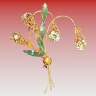 Lily Style Design & Green Marquis Glass Rhinestones Pin