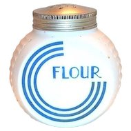 Anchor Hocking Vitrock Blue Circle C Glass Flour Shaker
