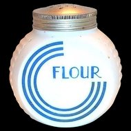 Anchor Hocking Vitrock Blue Circle C Glass Flour Shaker