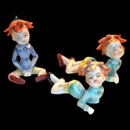 3 Pc Set Of Hand Painted Porcelain Flower Top Hat Elf Figurines