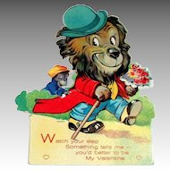 "Vintage ""Watch Your Step"" Lion & Monkey Mechanical Valentine"