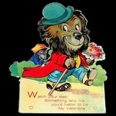 "Vintage ""Watch Your Step"" Lion & Monkey Mechanical Valentine"