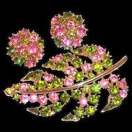 Lovely Lisner Pink & Green Glass Rhinestone Leaf Pin & Earrings Set