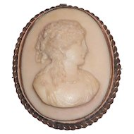 Lovely Carved Lava Cameo Pin - 1800's
