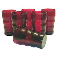 Ruby Red Raised Horizontal Ringed Juice Glass
