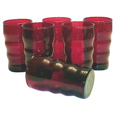 Ruby Red Raised Horizontal Ringed Juice Glass