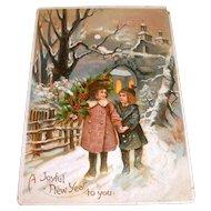 A Joyful New Year To You Vintage Postcard