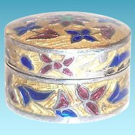 Small Round Cloisonne Sterling Pill Box