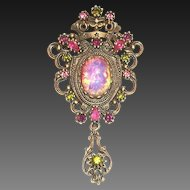 Sarah Coventry Rhinestone & Faux Opal Style Pin/Pendant
