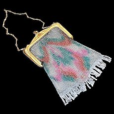 Vintage Whiting & Davis Rainbow Colored Design Mesh Purse
