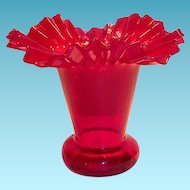 Lovely Ruby Red Frilly Rim Art Glass Vase