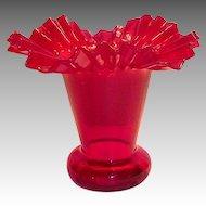 Lovely Ruby Red Frilly Rim Art Glass Vase