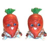 Anthropomorphic Porcelain Carrot Heads Salt & Pepper Set