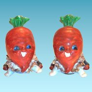 Anthropomorphic Porcelain Carrot Heads Salt & Pepper Set