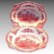 Johnson Bros. Old Britain Castles Red Transfer Ware Oval Porcelain Bowl