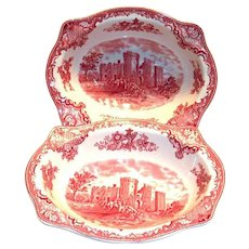 Johnson Bros. Old Britain Castles Red Transfer Ware Oval Porcelain Bowl