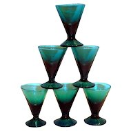Lovely Bluish Green Fluted Stemmed Liqueur Glass