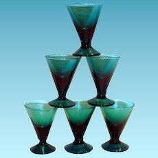 Lovely Bluish Green Fluted Stemmed Liqueur Glass