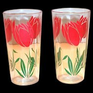 Vintage Red Tulips Design Jelly Drinking Glass