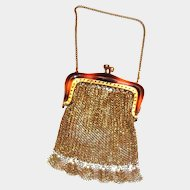 Small Gold Tone Mesh Coin Purse With a Faux Tortoise Shell Trimmed Frame