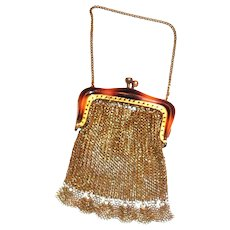 Vintage Gold Tone Mesh Coin Purse With a Faux Tortoise Shell Trimmed Frame