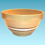 White & Brown Circular Striped Centered Design Yelloware Pottery Bowl