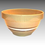 White & Brown Circular Striped Centered Design Yelloware Pottery Bowl