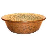 Vintage Spongeware Pottery Bowl