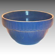 Blue Inverted Picket Fence & Pyramid Design Stoneware Bowl